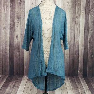Lularoe teal lace Lindsay kimono